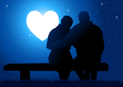 Illustration of a couple sitting while watching glowing heart