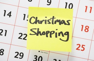 Christmas Shopping Reminder on a Wall Calendar