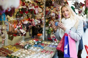 Female shopping at festive fair