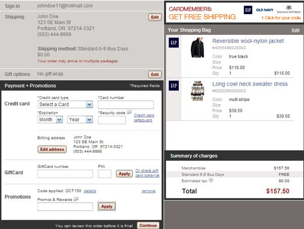 Demonstrates how to enter a coupon code on the Gap website checkout.