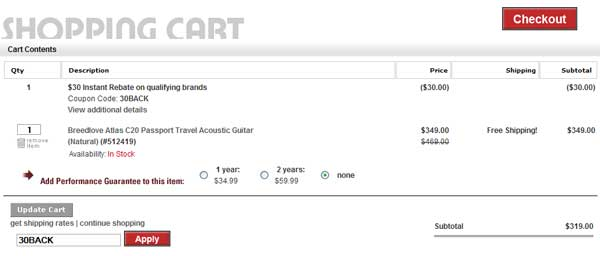 Demonstrates how to enter a coupon code on the Guitar Center website checkout.