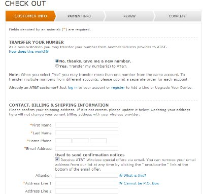 Demonstrates how to enter a coupon code on the AT&T Wireless website checkout.