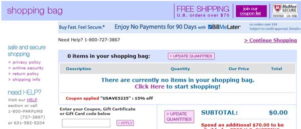 Demonstrates how to enter a coupon code on the FragranceNet.com website checkout.