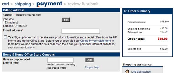 Demonstrates how to enter a coupon code on the HP website checkout.