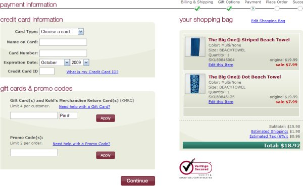 Demonstrates how to enter a coupon code on the Kohl's website checkout.