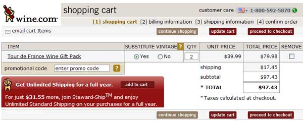 Demonstrates how to enter a coupon code on the Wine.com website checkout.