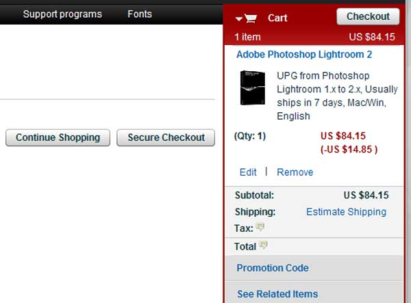 Demonstrates how to enter a coupon code on the Adobe website checkout.