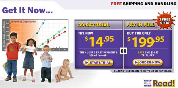 Demonstrates how to enter a coupon code on the Your Baby Can Read website checkout.