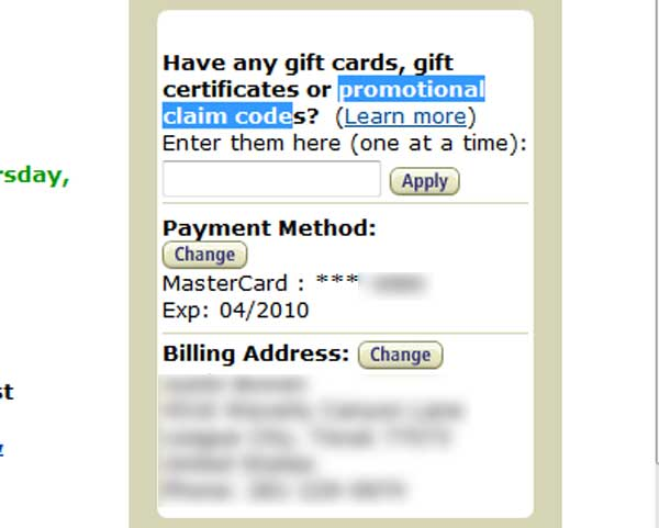 Demonstrates how to enter a coupon code on the Amazon website checkout.