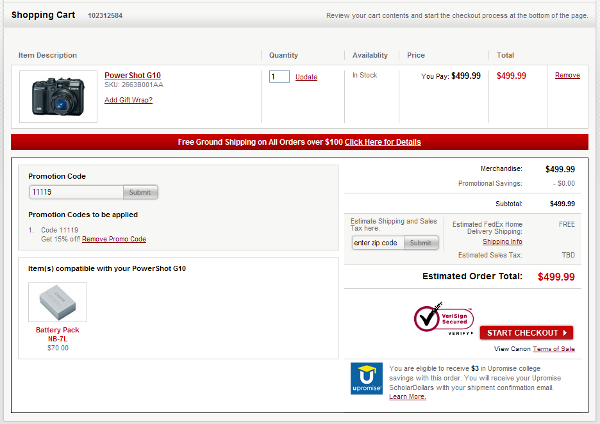 Demonstrates how to enter a coupon code on the Canon website checkout.