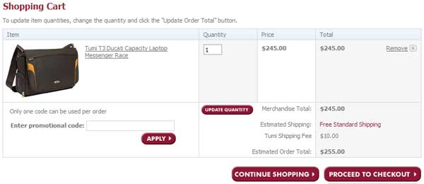 Demonstrates how to enter a coupon code on the Irv's Luggage website checkout.