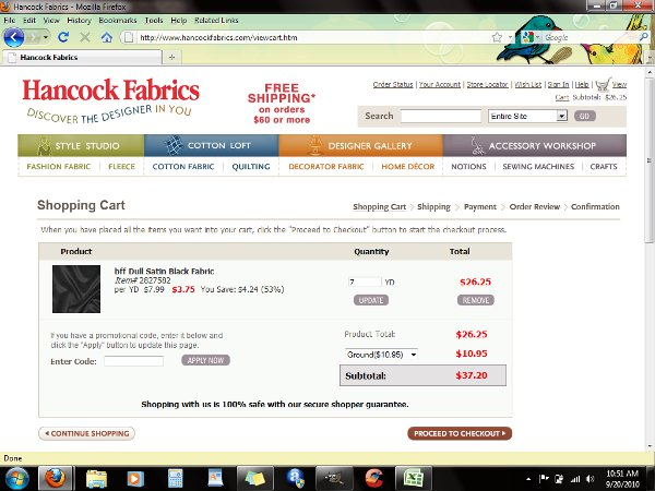 Demonstrates how to enter a coupon code on the Hancock Fabrics website checkout.