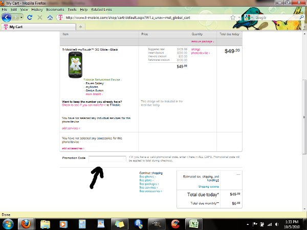 Demonstrates how to enter a coupon code on the T-Mobile website checkout.