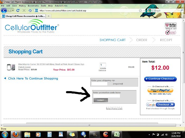 Demonstrates how to enter a coupon code on the Cellular Outfitter website checkout.