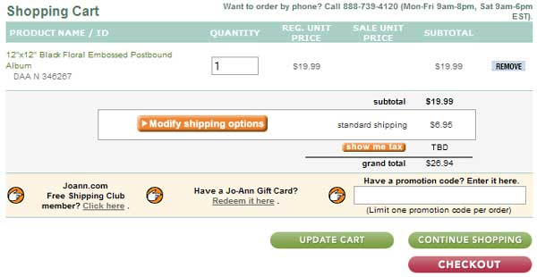 Demonstrates how to enter a coupon code on the Joann.com website checkout.