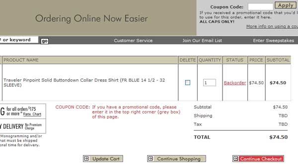 Demonstrates how to enter a coupon code on the Jos. A. Bank website checkout.