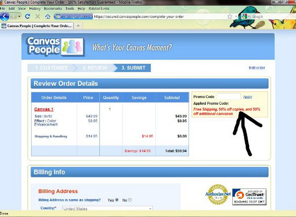 Demonstrates how to enter a coupon code on the CanvasPeople website checkout.