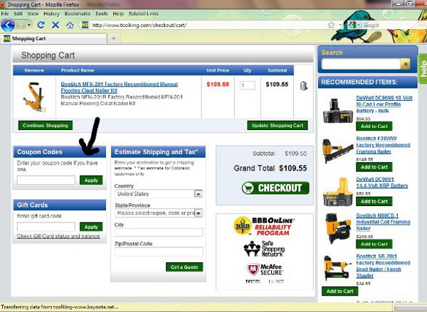 Demonstrates how to enter a coupon code on the Tool King website checkout.