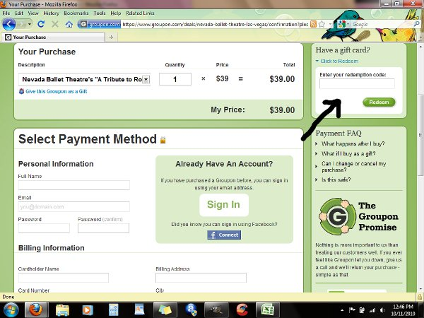 Demonstrates how to enter a coupon code on the Groupon website checkout.