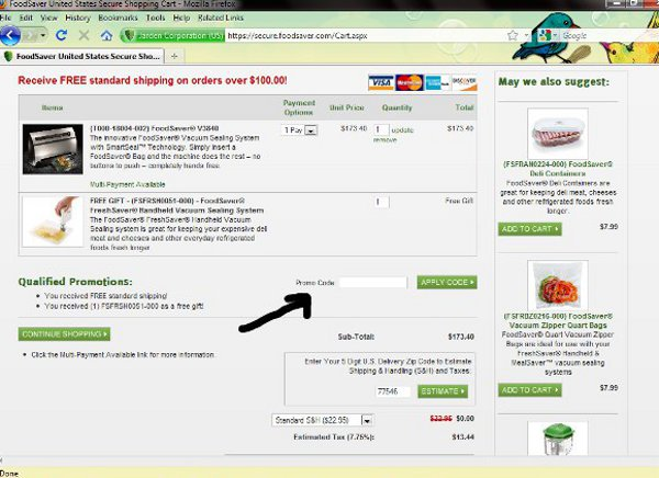 Demonstrates how to enter a coupon code on the FoodSaver website checkout.