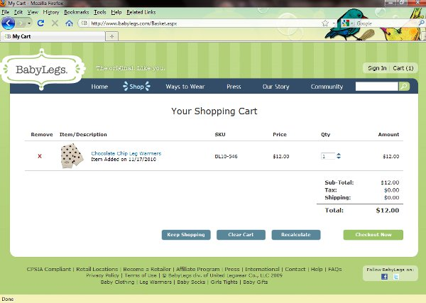 Demonstrates how to enter a coupon code on the Babylegs website checkout.