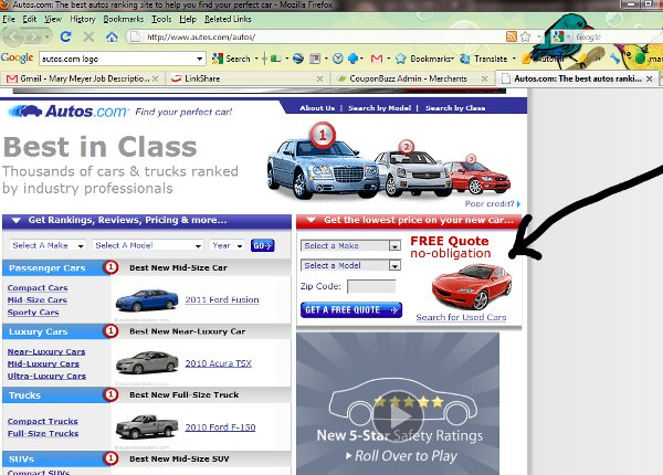 Demonstrates how to enter a coupon code on the Autos.com website checkout.
