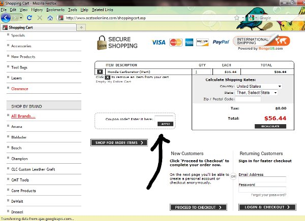 Demonstrates how to enter a coupon code on the Ace Tool website checkout.