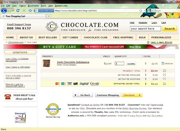 Demonstrates how to enter a coupon code on the Chocolate.com website checkout.