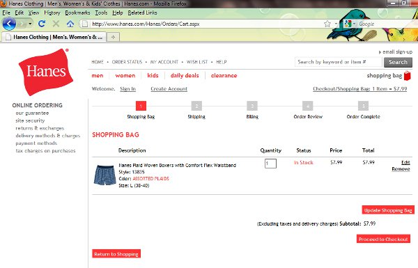 Demonstrates how to enter a coupon code on the Hanes.com website checkout.
