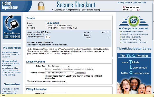 Demonstrates how to enter a coupon code on the TicketLiquidator website checkout.