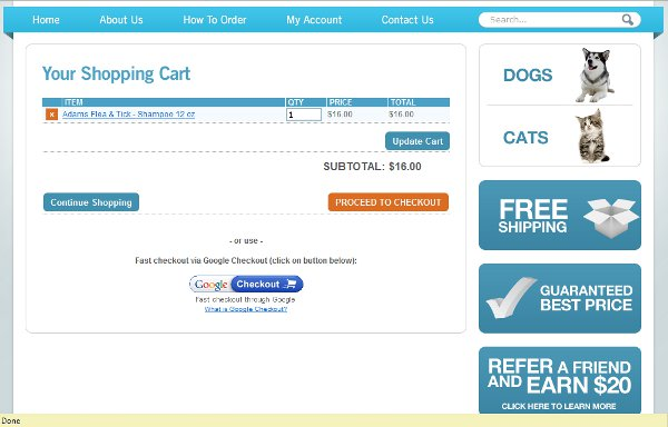 Demonstrates how to enter a coupon code on the VetShop.com website checkout.