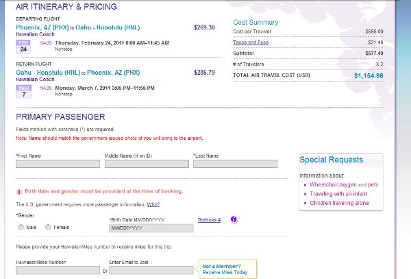 Demonstrates how to enter a coupon code on the Hawaiian Airlines website checkout.