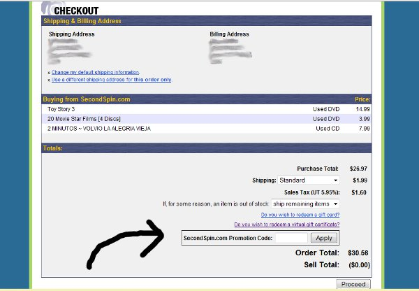Demonstrates how to enter a coupon code on the SecondSpin.com website checkout.