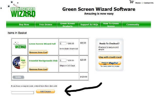 Demonstrates how to enter a coupon code on the Greenscreen Wizard website checkout.