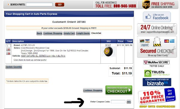 Demonstrates how to enter a coupon code on the Auto Parts Express website checkout.