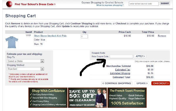 Demonstrates how to enter a coupon code on the A.T. Cross website checkout.