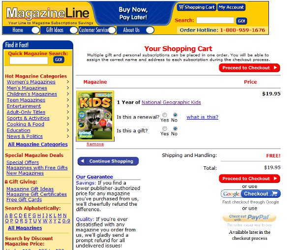 Demonstrates how to enter a coupon code on the Magazineline.com website checkout.