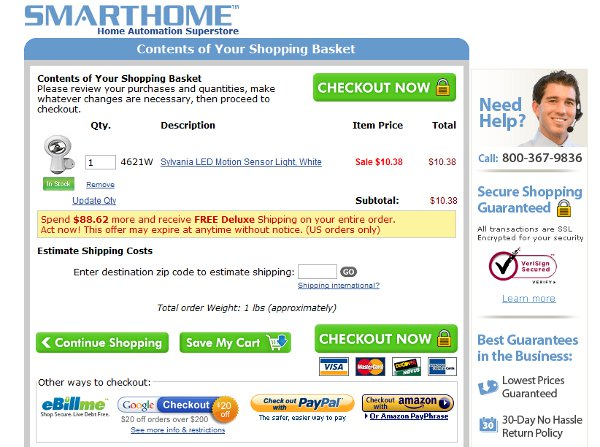 Demonstrates how to enter a coupon code on the Smarthome website checkout.