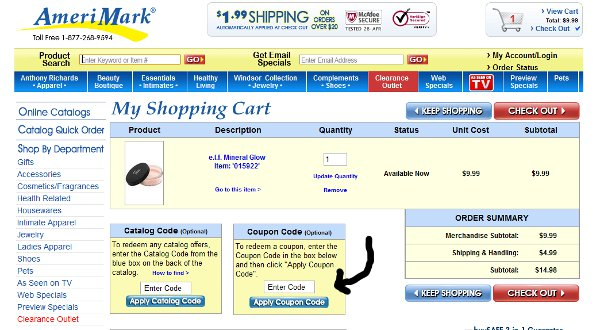 Demonstrates how to enter a coupon code on the AmeriMark website checkout.