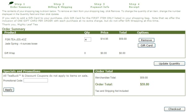 Demonstrates how to enter a coupon code on the Mighty Leaf Tea website checkout.