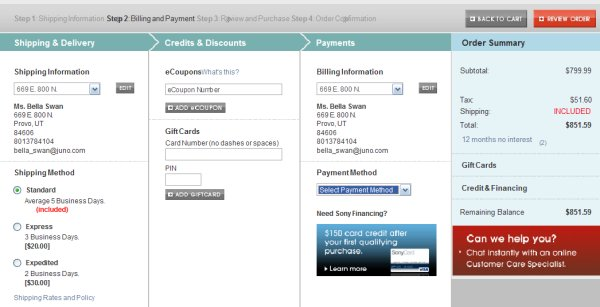 Demonstrates how to enter a coupon code on the Sony website checkout.
