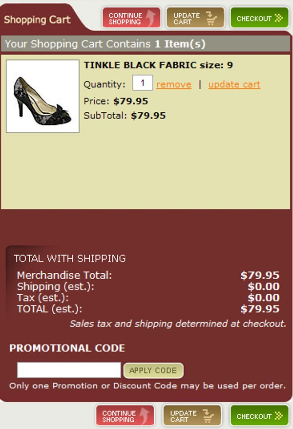 Demonstrates how to enter a coupon code on the Steve Madden website checkout.