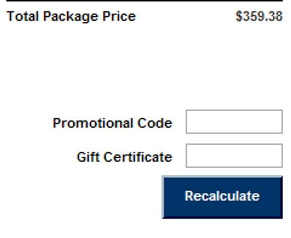 Demonstrates how to enter a coupon code on the Travelocity website checkout.