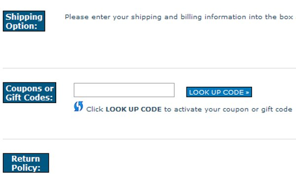 Demonstrates how to enter a coupon code on the US Outdoor Store website checkout.