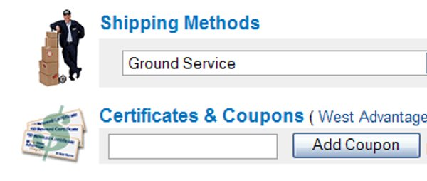 Demonstrates how to enter a coupon code on the West Marine website checkout.