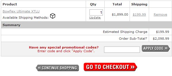 Demonstrates how to enter a coupon code on the Bowflex SelectTech dumbbells website checkout.