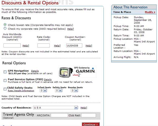 Demonstrates how to enter a coupon code on the Avis Rent-A-Car website checkout.