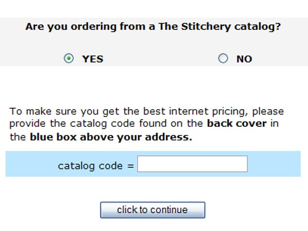 Demonstrates how to enter a coupon code on the The Stitchery website checkout.