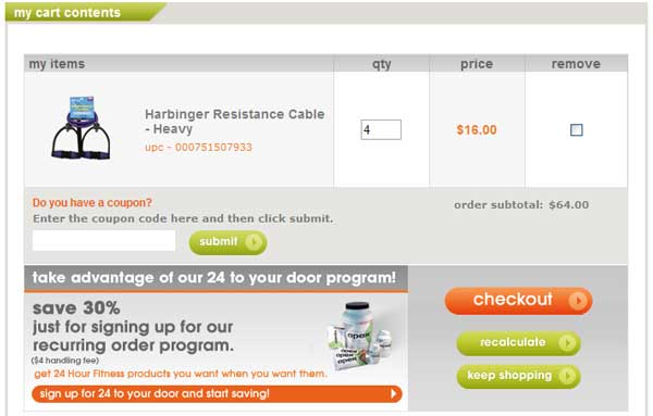 Demonstrates how to enter a coupon code on the 24 Hour Fitness website checkout.