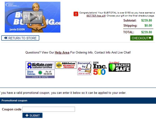 Demonstrates how to enter a coupon code on the Bodybuilding.com website checkout.